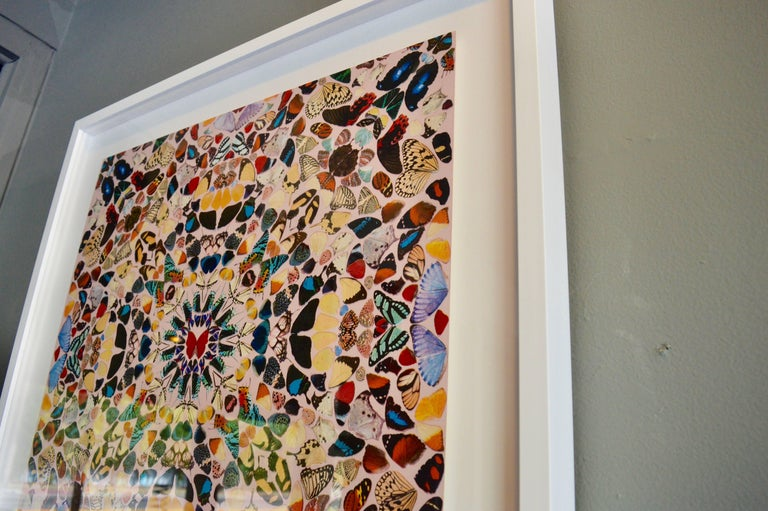 Fantastic piece of wall art by Damien Hirst. Original wallpaper block by Damien Hirst depicting butterflies. Wallpaper in perfect vintage condition. Newly mounted and framed.