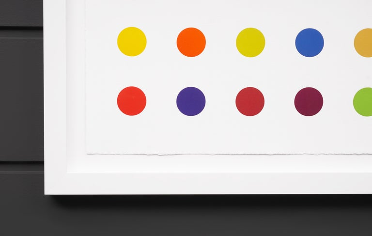The Horizontal 'Spots' by Damien Hirst is a multi-color woodcut in his signature palette formed with series unique colors. This exquisite piece is created in a limited edition of only 55 in existence. Signed by the artist in pencil in the lower