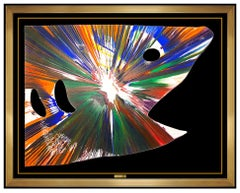 Damien Hirst Large Original Acrylic Spin Painting Signed Shark Modern Pop Art