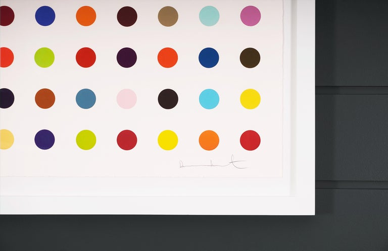 The Vertical Multi-color Spots by Damien Hirst is a woodcut in his signature, bright color palette formed with series unique colors. This exquisite piece is created in a limited edition of 55. Signed by the artist in pencil in the lower right corner