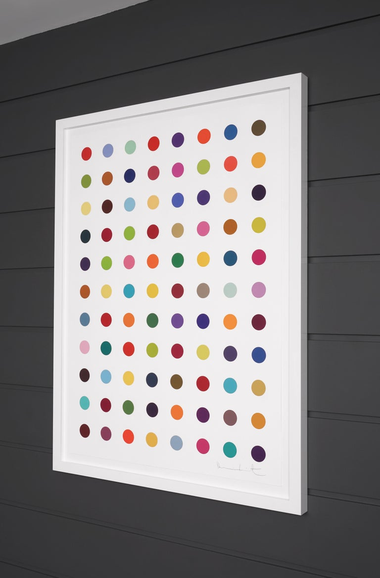 Damien Hirst, Vertical 'Spots' I, Woodcut, 2018 - Gray Abstract Print by Damien Hirst