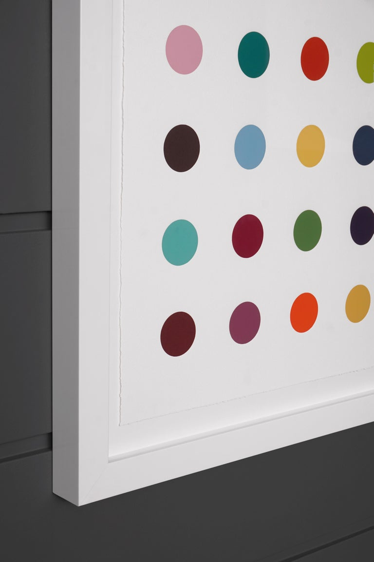 The Vertical 'Spots' I by Damien Hirst is a woodcut in his signature, bright color palette formed with series unique colors. This exquisite piece is created in a limited edition of 55. Signed by the artist in pencil in the lower right corner and