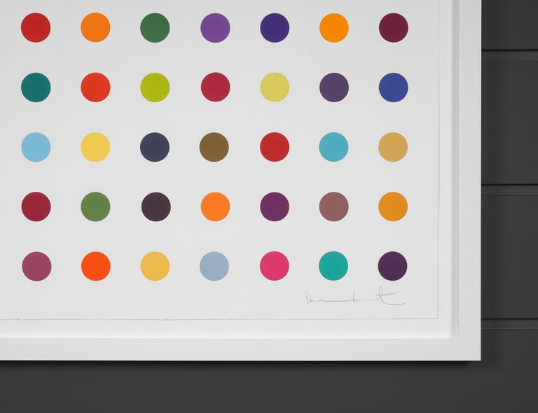 The 'Vertical Spots I' by Damien Hirst is a woodcut in his signature, bright color palette formed with series unique colors. This exquisite piece is created in a limited edition of 55. Signed by the artist in pencil in the lower right corner and