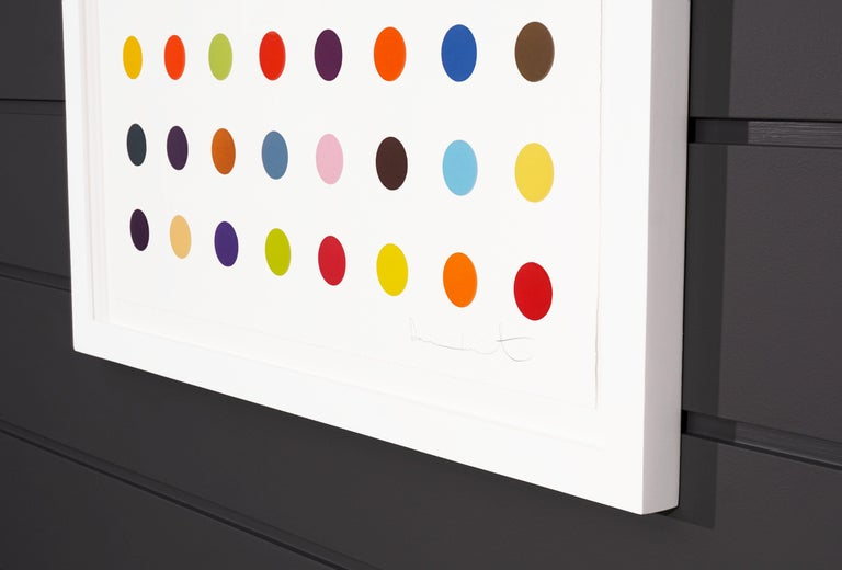 The Vertical Spots by Damien Hirst is a woodcut in his signature, bright color palette formed with series unique colors. This exquisite piece is created in a limited edition of 55. Signed by the artist in pencil in the lower right corner and