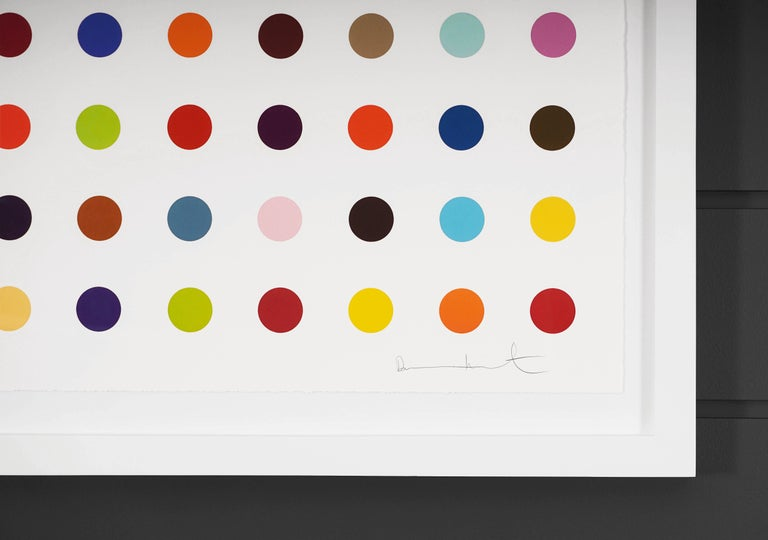 The Vertical 'Spots' by Damien Hirst is a woodcut in his signature, bright color palette formed with series unique colors. This exquisite piece is created in a limited edition of 55. Signed by the artist in pencil in the lower right corner and