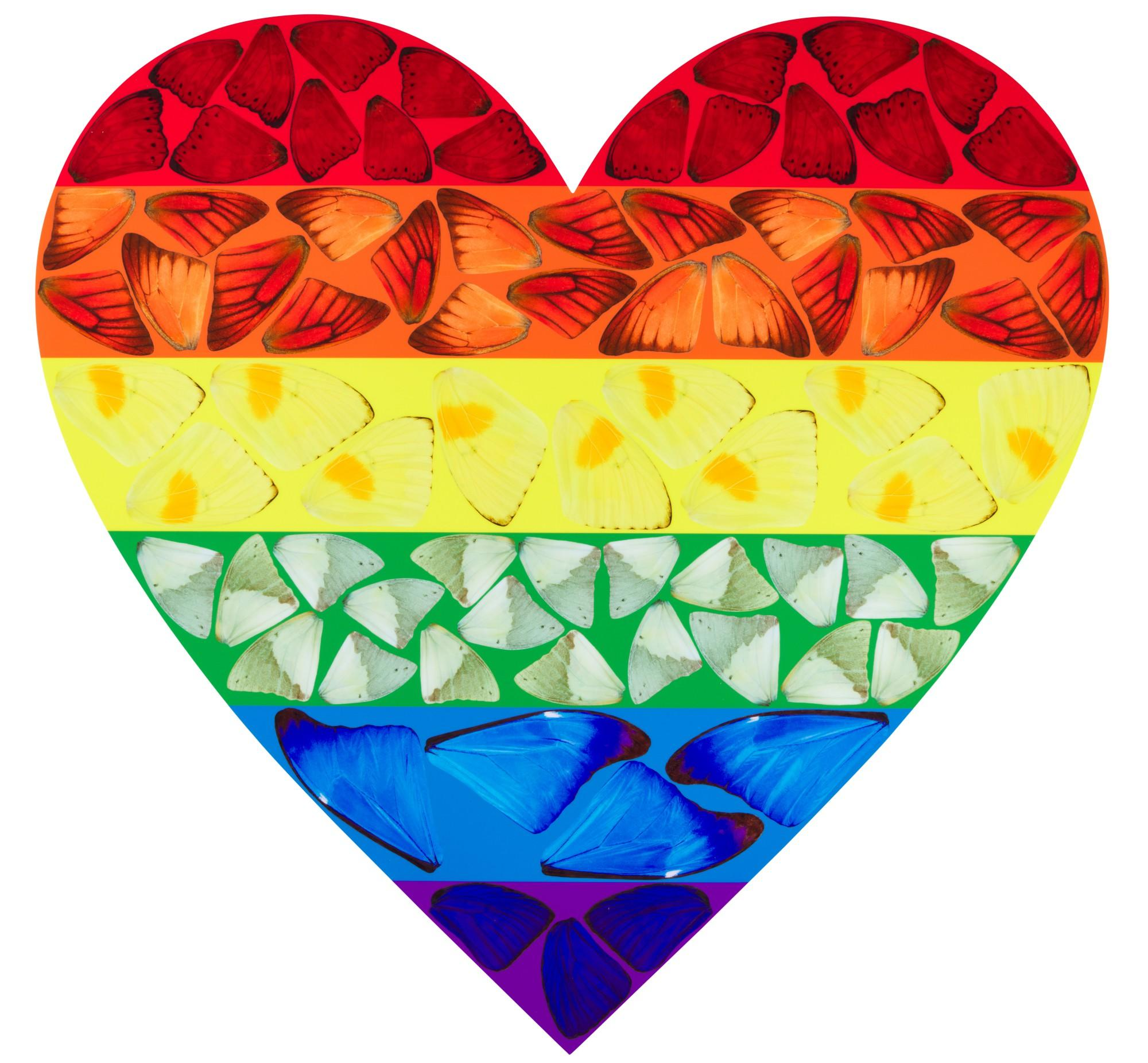 Butterfly Heart (Large) -- Giclée Print, Colourful, Rainbow by Damien Hirst