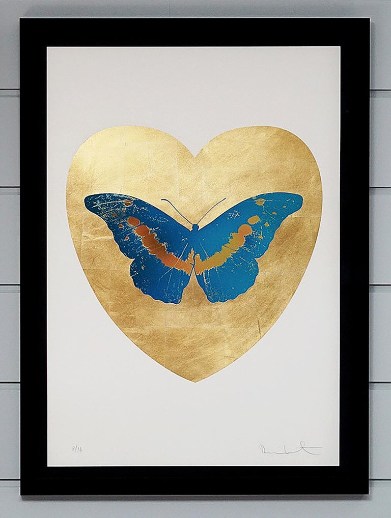 This series 'I Love You' is created in Damien Hirst's signature style using butterflies as a symbolism for the celebration of life. This work is a part of small edition of 14 works. Signed by the Artist. The artwork comes in a custom black lacquer