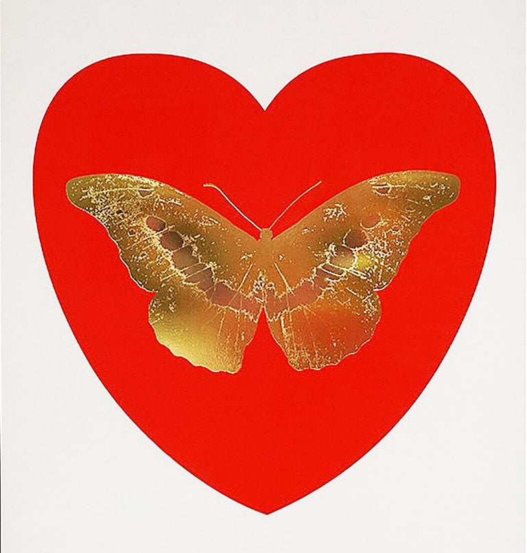 Damien Hirst, Butterfly, Red/Gold (2015) - Gray Figurative Print by Damien Hirst