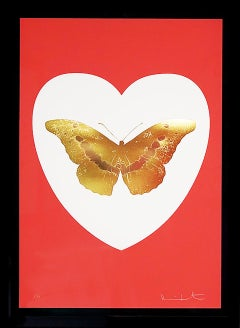 Damien Hirst, 'I Love You' Coral/Gold Butterfly