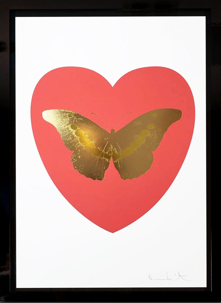 Damien Hirst, 'I Love You' Coral & White, Butterfly - Print by Damien Hirst