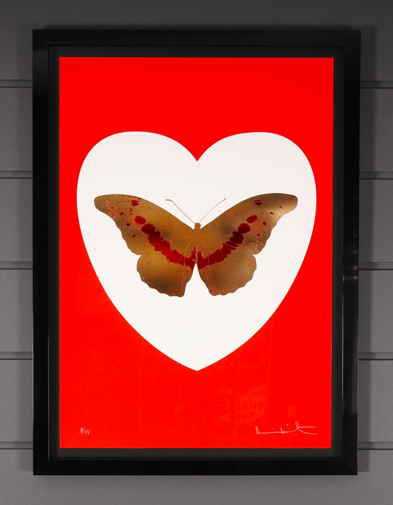 Damien Hirst, I Love You, Red & Gold, Butterfly - Contemporary Print by Damien Hirst