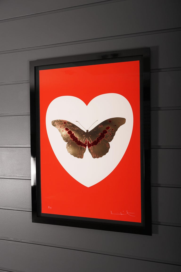 Damien Hirst, I Love You, Red & Gold, Butterfly For Sale 1