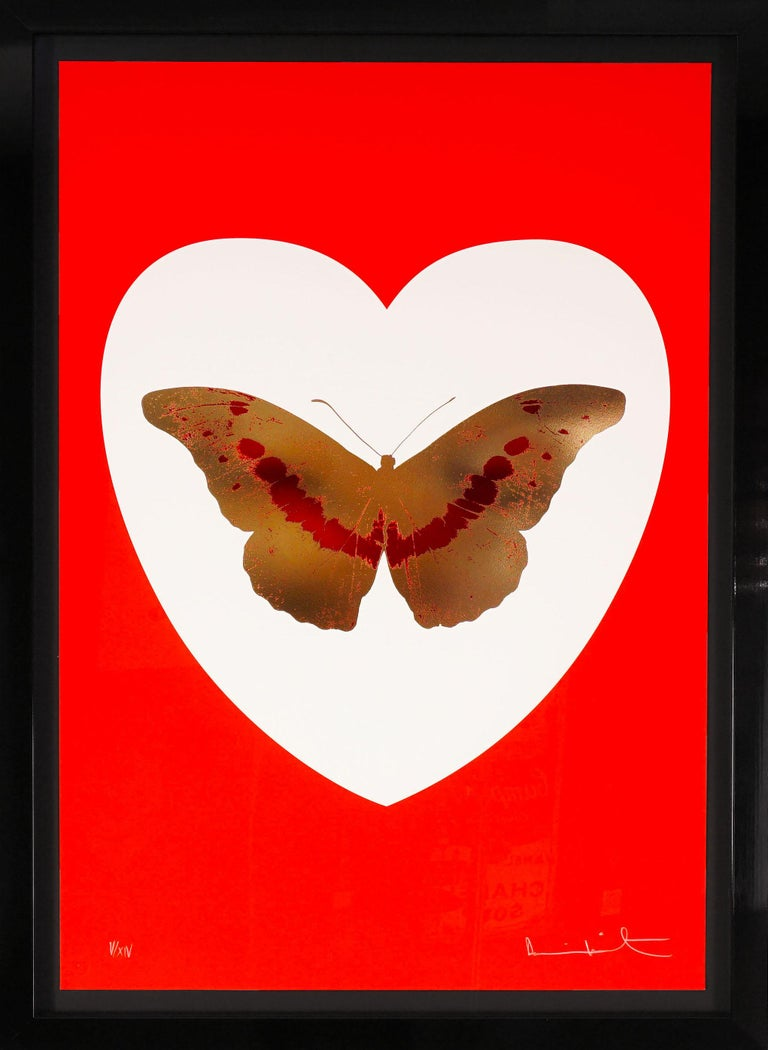 Damien Hirst, I Love You, Red & Gold, Butterfly - Print by Damien Hirst