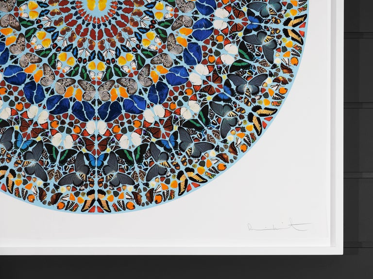 The 'Mantra' is a silkscreen print with diamond dust, created by Master Contemporary artist, Damien Hirst in 2011. This massive, stately, and shimmering print is the largest ever created by Hirst in his entire career to date. Damien Hirst has