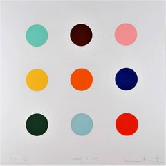 "Damien Hirst, ""Quene 1-AM"", Contemporary Art, Print, Dots, Colors, Paper"