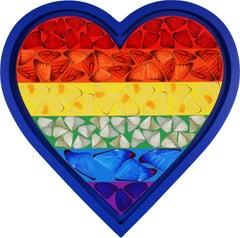 Damien Hirst, Rainbow Butterfly Heart, Blue, 2020
