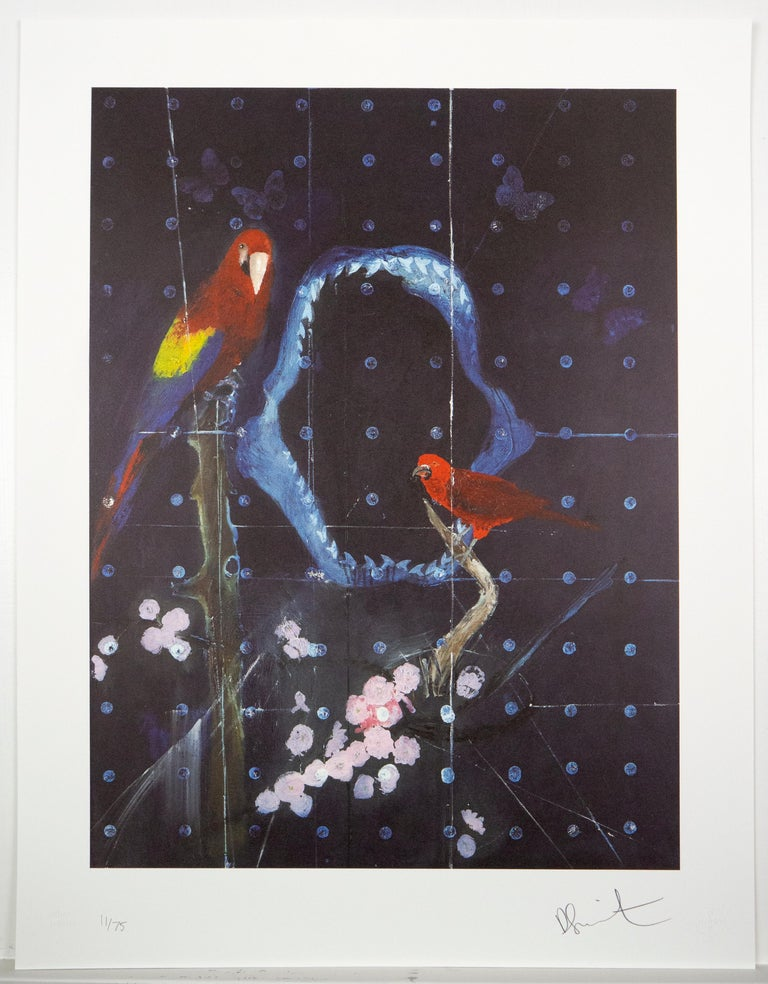 Damien Hirst, Red Bird and Parrot with Shark Jaw, Lithograph, 2012 For Sale 1