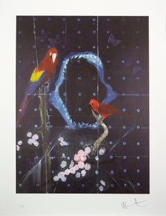 Damien Hirst, Red Bird and Parrot with Shark Jaw, Lithograph, 2012