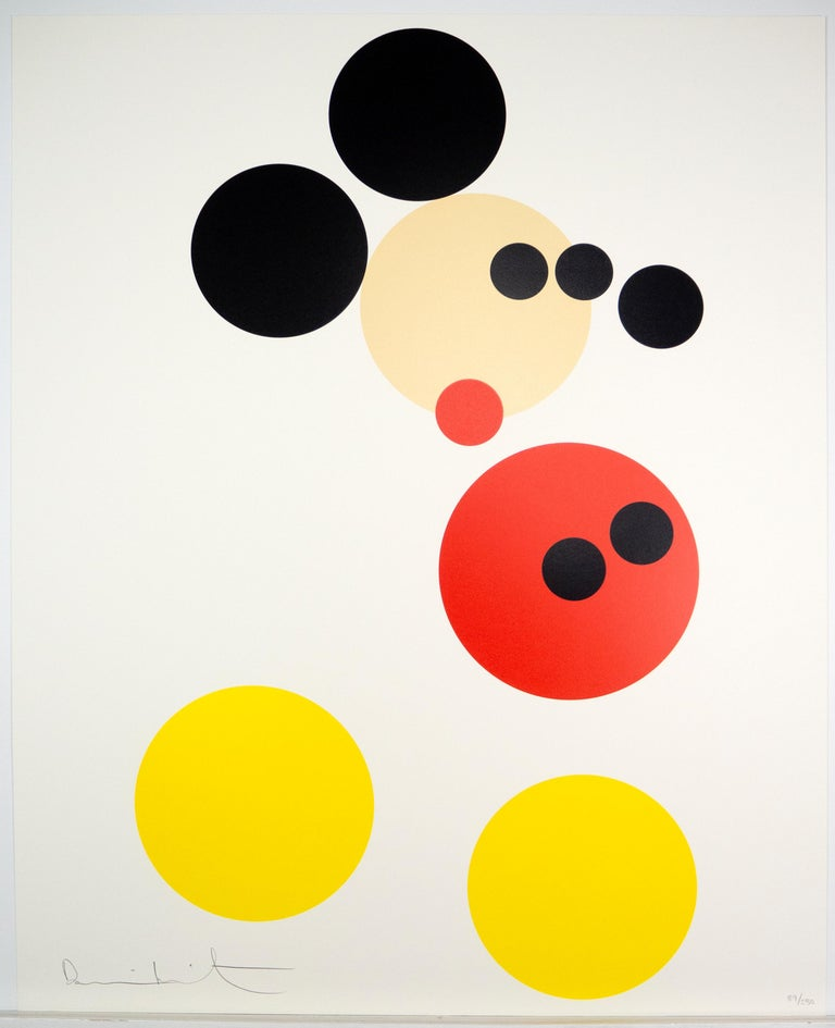 Damien Hirst first began creating his iconic spot paintings in the 1980s. They are among his most iconic works. In this print, Hirst playfully incorporates the visual language of his spot paintings to depict the internationally well-known image of