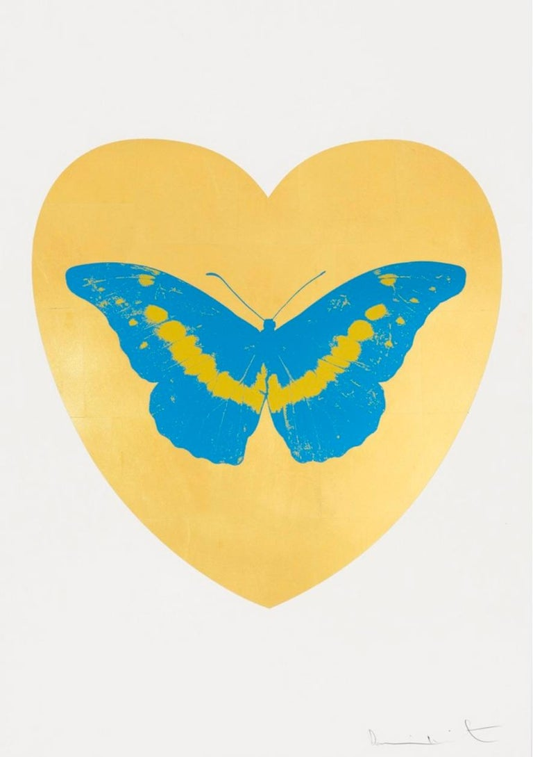 """Artist:  Hirst, Damien Title:  I Love You  Date:  2015 Medium:  screenprint and foil block in colors on Somerset Satin paper Unframed Dimensions:  39.375"""" x 27.5"""" Framed Dimensions:  47"""" x 35"""" Signature:  Pencil signed Edition:  /14"""