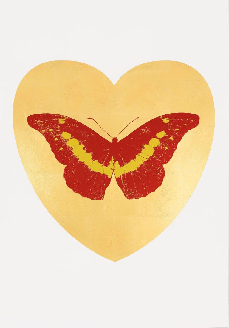 """Artist:  Hirst, Damien Title:  I Love You  Date:  2015 Medium:  Silkscreen and gold leaf with foil block Unframed Dimensions:  39.375"""" x 27.5"""" Framed Dimensions:  45"""" x 33"""" Signature:  Pencil signed Edition:  /14"""
