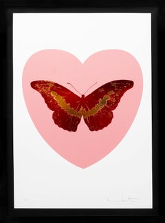 'I Love You' Pink Heart, Red/Gold Foil Block Butterfly, 2015