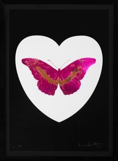 'I Love You' White Heart, Fuchsia/Gold Foil Block Butterfly, 2015