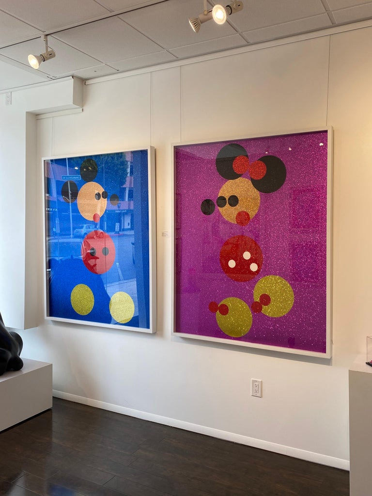 Mickey (Blue Glitter) Large & Minnie (Pink Glitter) Large.  Pair, 2 artworks - Print by Damien Hirst