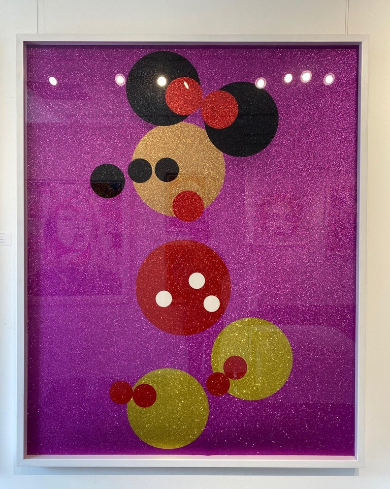 Mickey (Blue Glitter) Large & Minnie (Pink Glitter) Large.  Pair, 2 artworks - Purple Figurative Print by Damien Hirst