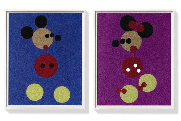 Damien Hirst Figurative Print - Mickey (Blue Glitter) Large & Minnie (Pink Glitter) Large.  Pair, 2 artworks