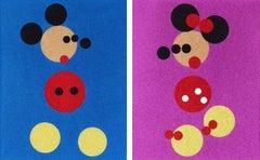 Mickey (Blue Glitter) & Minnie (Pink Glitter), Damien Hirst