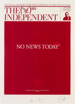 The Independent (RED) -- Screen Print, Text Art, Pop Art, Bono by Damien Hirst