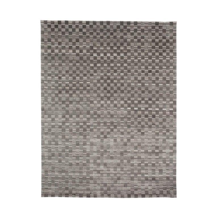 For Sale: Gray (Dark Sleek) Damier 2.0 Rug by CC-Tapis