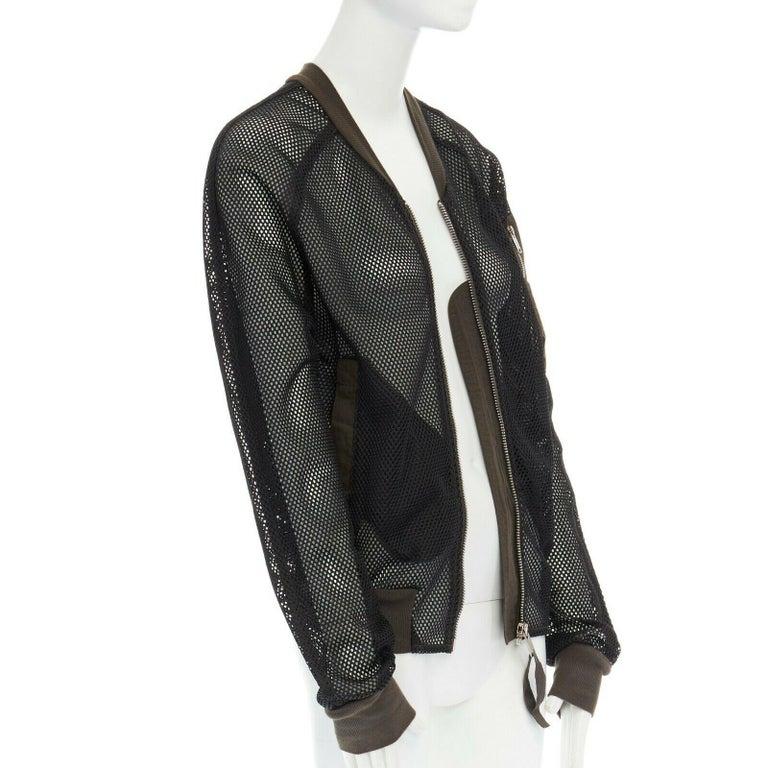 Black DAMIR DOMA SILENT green trimmed black mesh MA-1 bomber flight jacket S For Sale