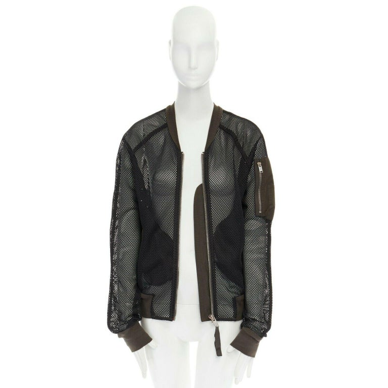 DAMIR DOMA SILENT green trimmed black mesh MA-1 bomber flight jacket S In Excellent Condition For Sale In Hong Kong, NT