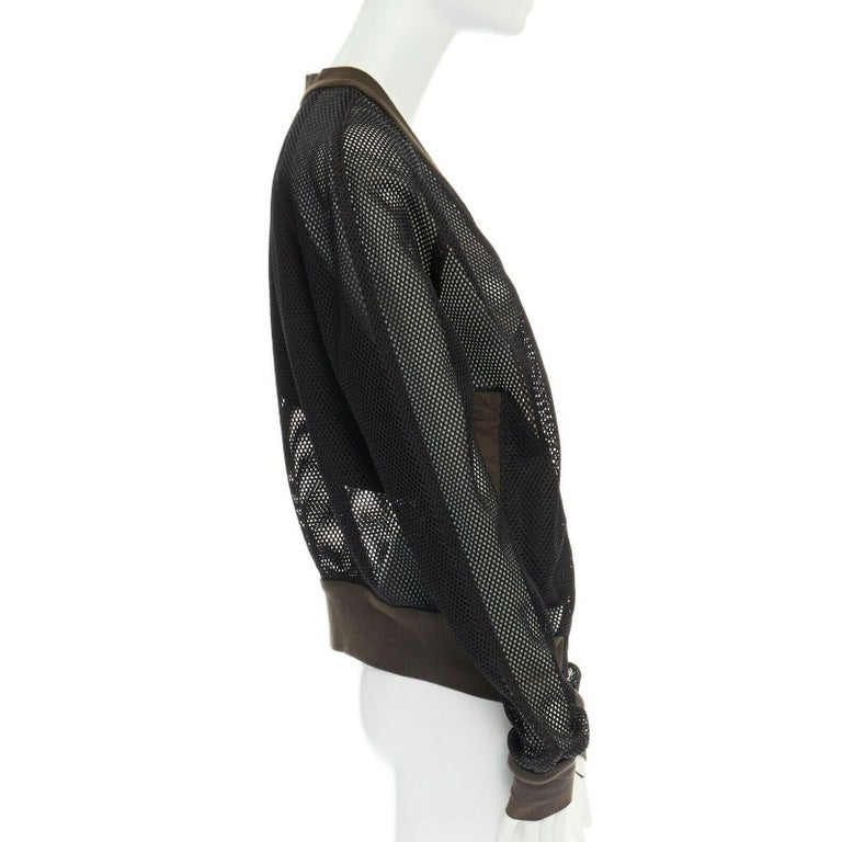 Women's DAMIR DOMA SILENT green trimmed black mesh MA-1 bomber flight jacket S For Sale