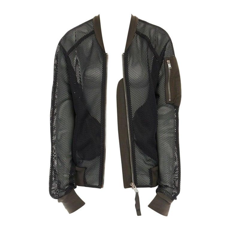 DAMIR DOMA SILENT green trimmed black mesh MA-1 bomber flight jacket S For Sale