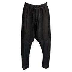 DAMIR DOMA Size 32 Black See Through Virgin Wool Drop-Crotch Casual Pants