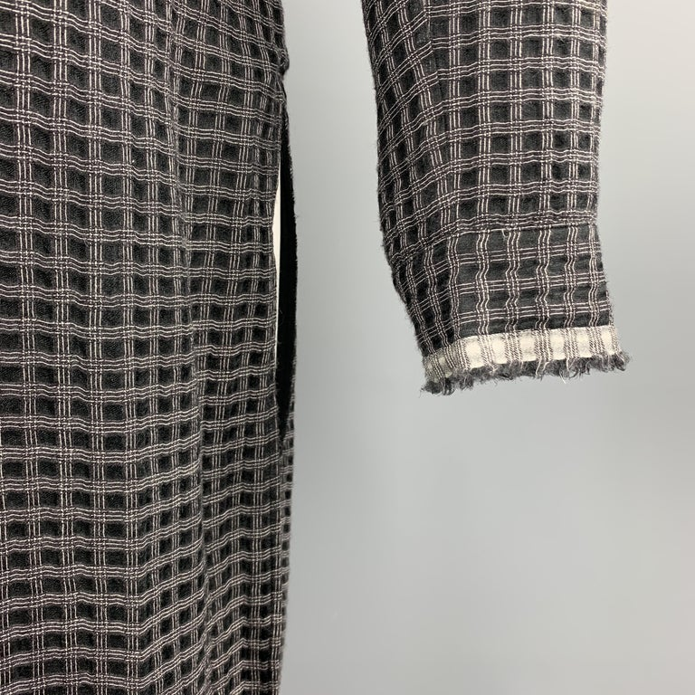 DAMIR DOMA XS Black & Grey Window Pane Wool / Silk Nehru Collar Long Sleeve  In Good Condition For Sale In San Francisco, CA
