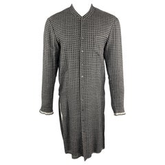 DAMIR DOMA XS Black & Grey Window Pane Wool / Silk Nehru Collar Long Sleeve