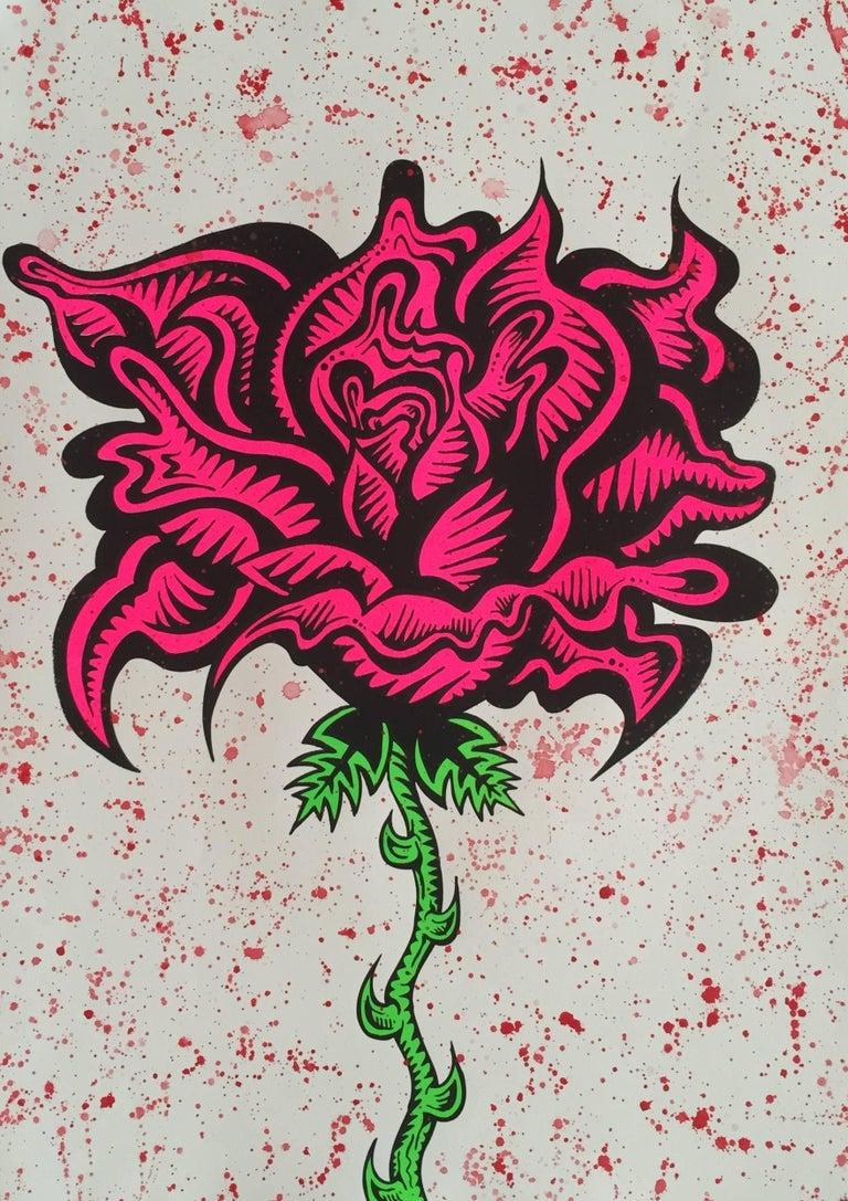 Damon Johnson Hand Embellished Flower Screenprint Print For Sale