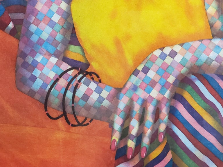 Brightly Colored Checkered Figures Edition 21 of 60 - Brown Figurative Print by Dan Allison