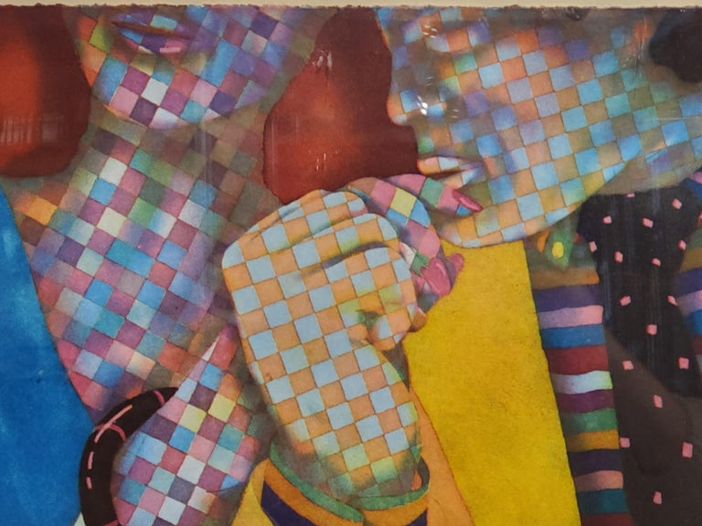 Brightly Colored Checkered Figures Pop Art Lithograph - Print by Dan Allison