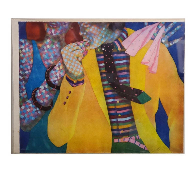 Dan Allison Abstract Print - Brightly Colored Checkered Figures Pop Art Lithograph