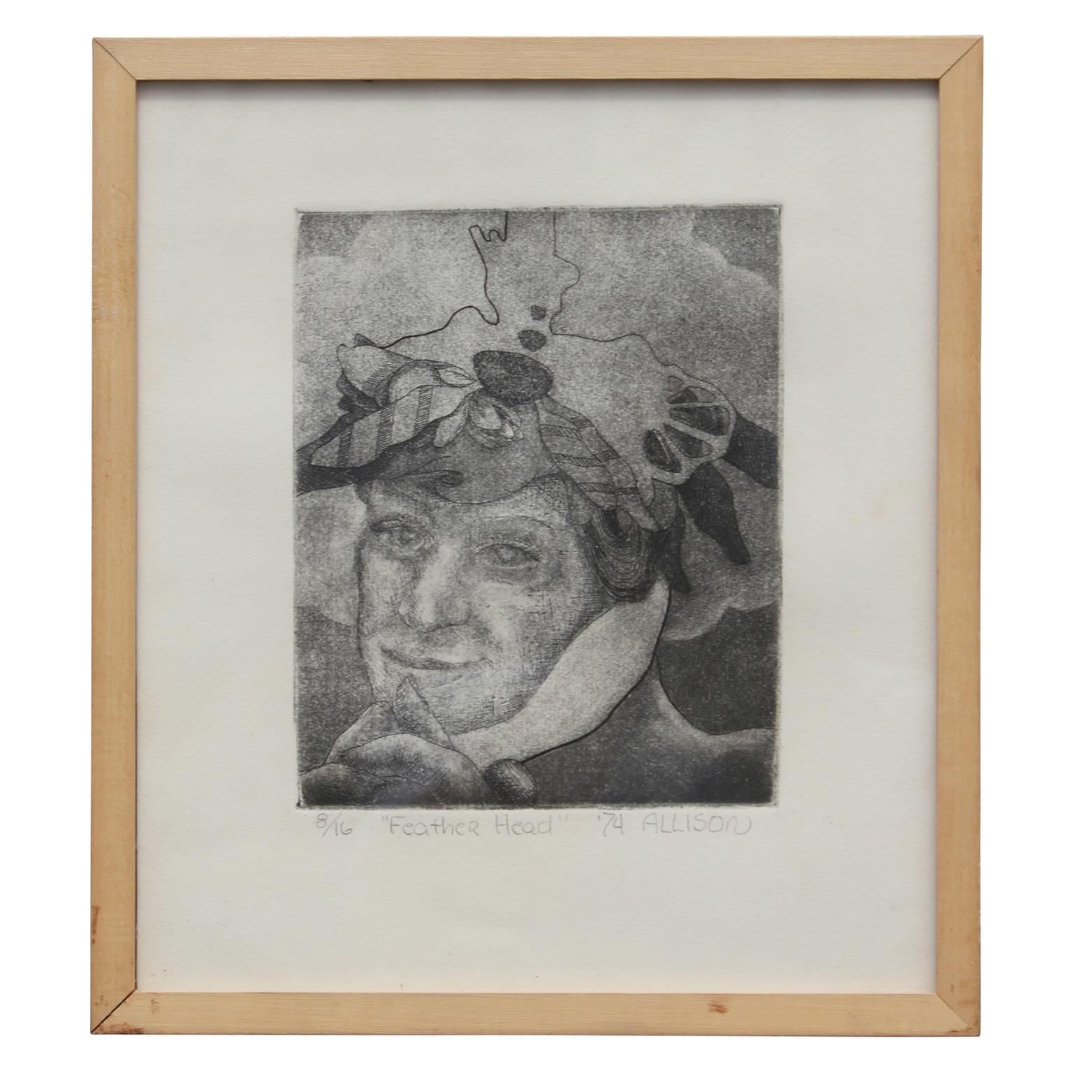 """Feather Head"" Portrait Lithograph"