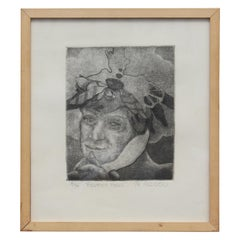 """Feather Head"" Portrait Lithograph"