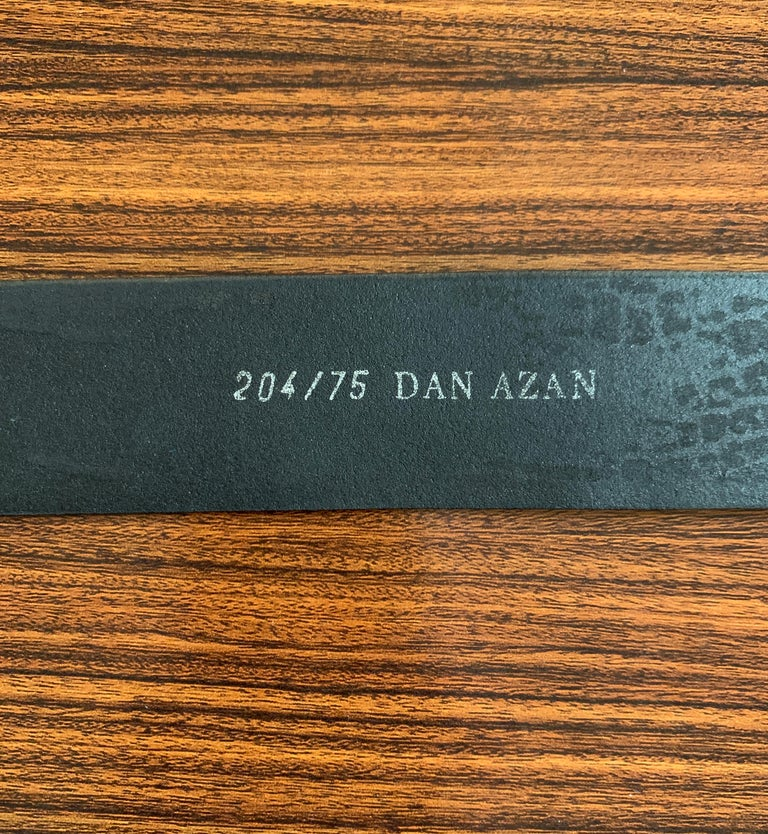 Dan Azan 90s Crocodile Embossed Leather Belt with Gold Crocodile Buckle For Sale 1