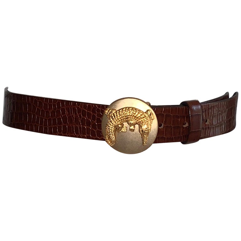 Dan Azan 90s Crocodile Embossed Leather Belt with Gold Crocodile Buckle For Sale