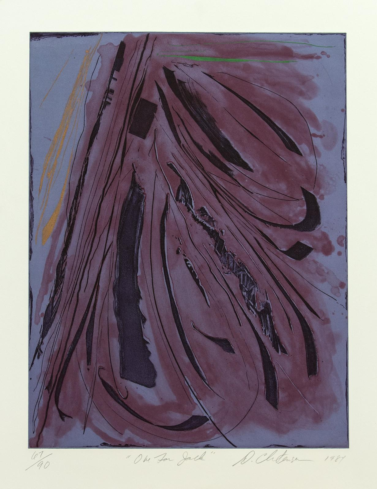 One For Jack - blue, purple, black, vibrant, gestural abstract ink etching