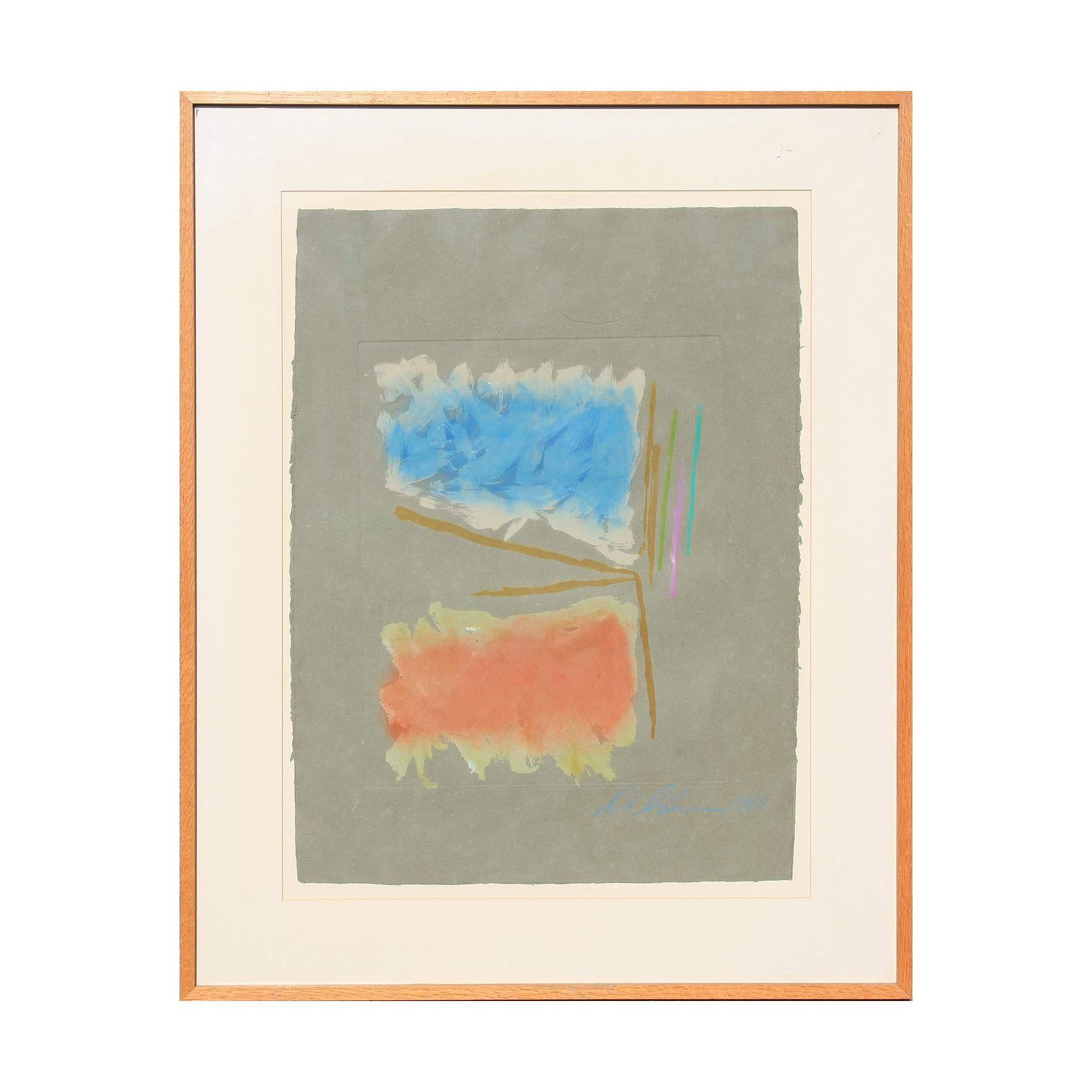 """""""Untitled"""" Blue and Orange Color Field Abstract Monotype on a Grey Background"""